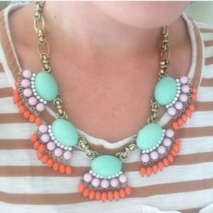 Jewelry - ❗️SOLD❗️ Mint & Coral Bead Fan Fringe Necklace